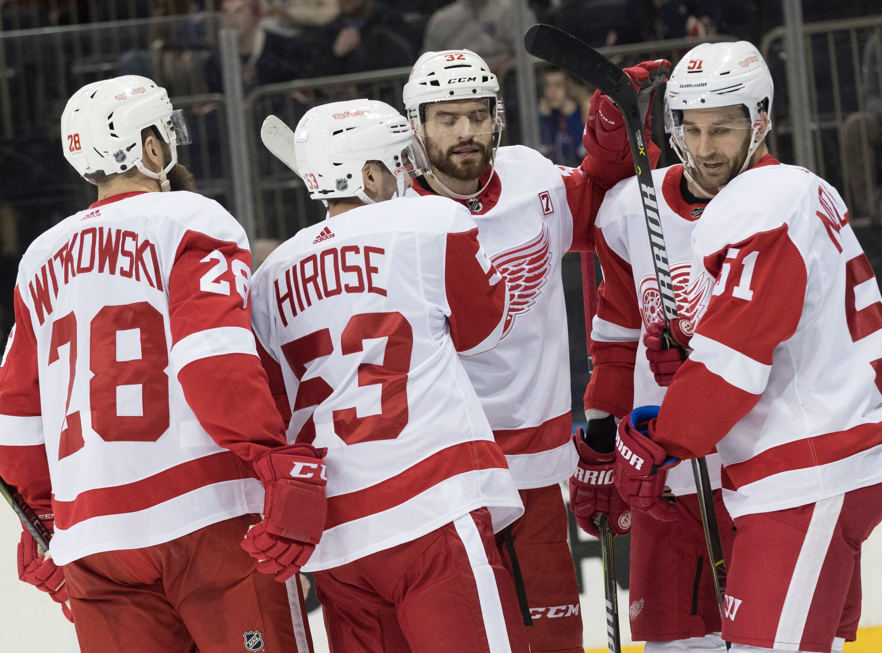 Detroit Red Wings center Frans Nielsen (51) celebrates after scoring a goal with his teammates during the first period.