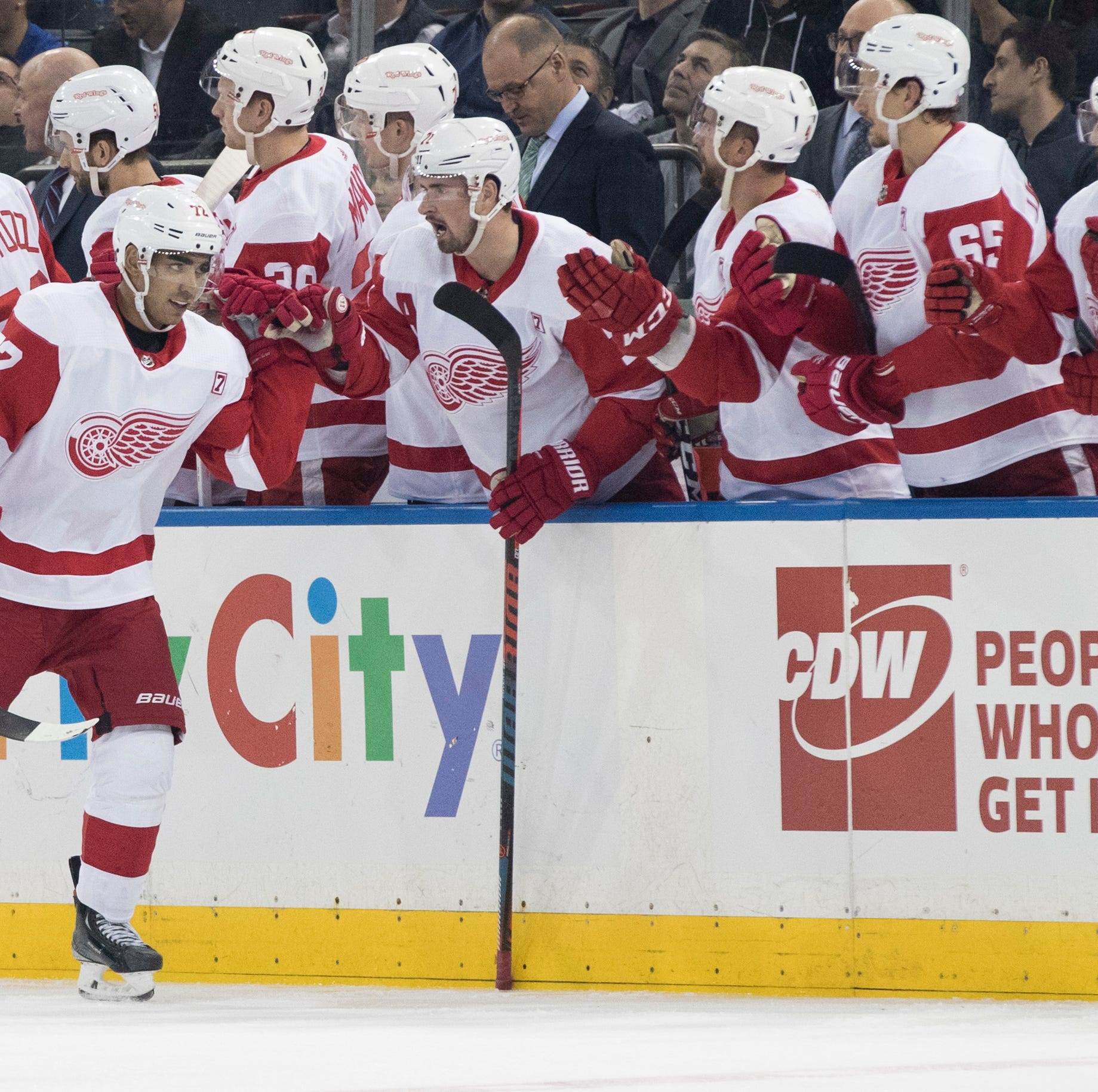 No tanks: Athanasiou scores twice, Red Wings hold on to beat Rangers, 3-2
