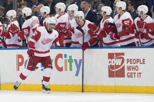 Detroit Red Wings center Andreas Athanasiou (72) celebrates after scoring a goal during the second period.