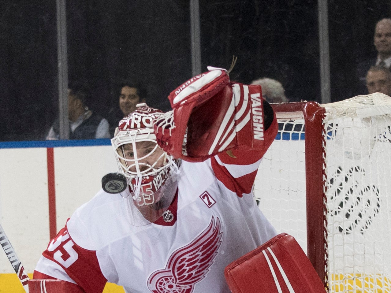 Detroit Red Wings goaltender Jimmy Howard makes the save during the second period.