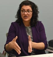 U.S. Congresswoman Rashida Tlaib speaks about her first few months in office while meeting with The Detroit News Editorial Board in Detroit on Wednesday, March 20, 2019.