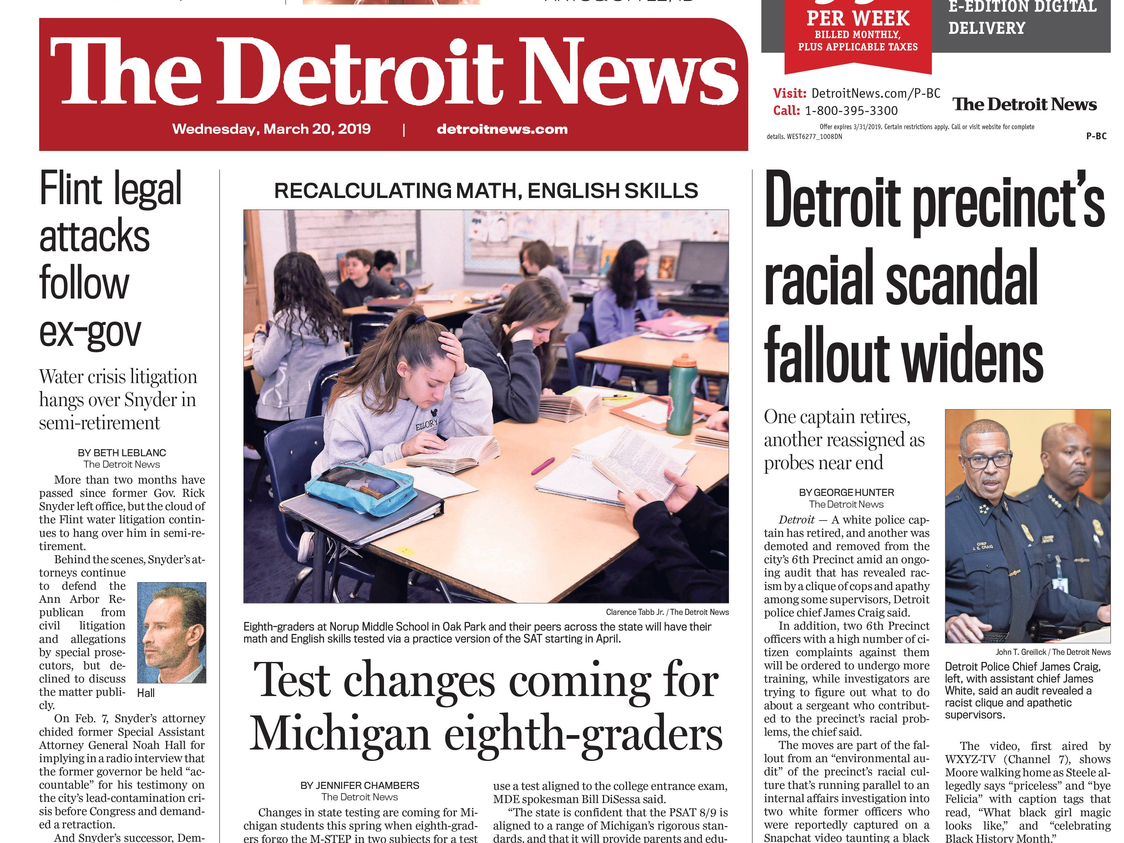The front page of the Detroit News on Wednesday, March 20, 2019.