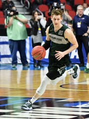 Michigan State guard Matt McQuaid, shown here Wednesday during a drill in the Spartans' practice at Wells Fargo Arena, is coming off a 27-point performance in the Big Ten tournament title game against Michigan.
