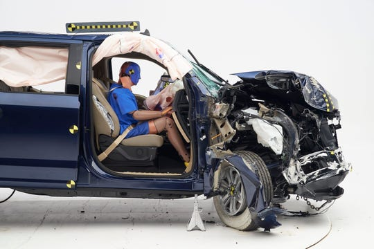 The dummy's position in relation to the door frame and dashboard after the crash test indicates that the passenger's survival space was maintained well in the 2019 Ford F-150 SuperCrew