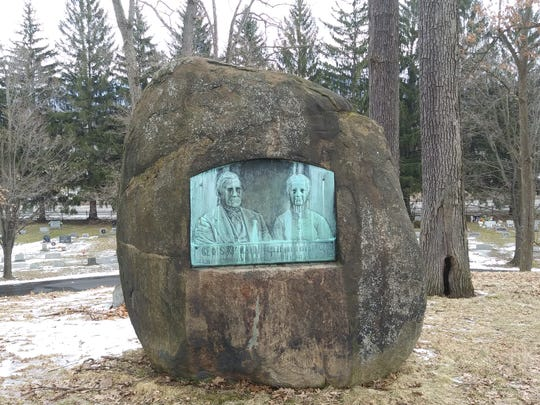 A rock marks the final resting place of George and Crete McCann, early settlers of Elmira.