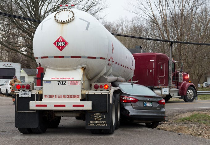 A vehicle and a tanker truck collided at the intersection of Woods Ave. and Houge Rd. on Evansville's West Side on Wednesday, March 20, 2019. The truck was empty and no one was injured.