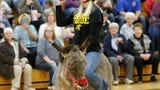 Waupun FFA battled Waupun High School staff in Donkey Basketball for playground equipment fundraiser.