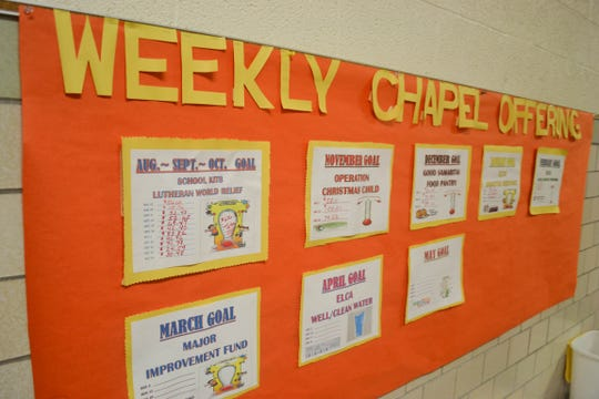 The Weekly Chapel Offering bulletin board lets kids know just how much they have helped each month.