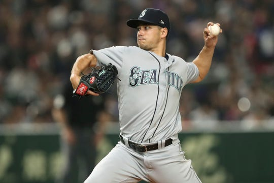 Seattle's Marco Gonzales, a Fort Collins native and former Rocky Mountain High School star, throws a pitch during the fourth inning of Wednesday's MLB opener in Tokyo against the Oakland Athletics. Gonzales, 27, pitched six innings for the win in his first opening-day start.