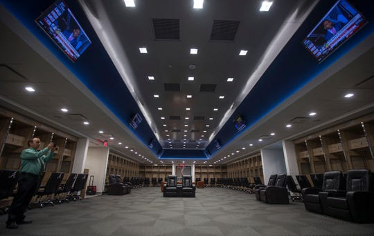 A view of the team locker room at CoolToday Park in North Port, Wednesday, March 20, 2019. The facility will be the new spring training home of the Atlanta Braves.