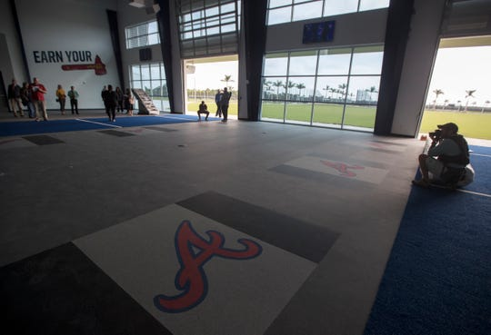 Members of the media tour the players' training room at  CoolToday Park in North Port, Wednesday, March 20, 2019. The facility will be the new spring training home of the Atlanta Braves.
