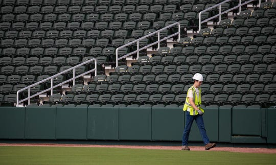 A view of the stadium seats at CoolToday Park in North Port, Wednesday, March 20, 2019. The facility will be the new spring training home of the Atlanta Braves.