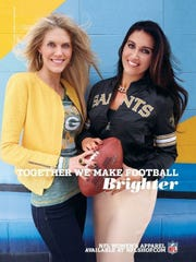 Representing the team of her brother, Clay Matthews, Jennifer Matthews, left, modeled Packers gear for the national NFL Women's Apparel Campaign in 2014.