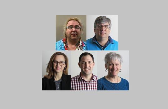 Green Bay school board candidates, from top left, Paul Boucher, John Jahnke, Kristina Shelton, Eric Vanden Heuvel and Brenda Warren.