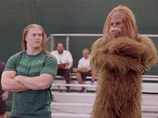 Clay Matthews mentors Sasquatch in a  Jack Link's ad campaign.