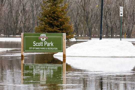 Scott Park in Omro is flooded Wednesday.