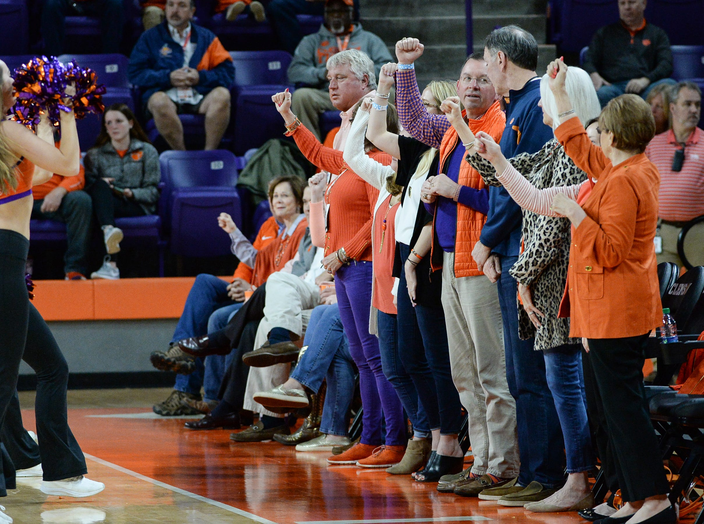 Clemson fans cheer at the NIT at Littlejohn Coliseum in Clemson Tuesday, March 19, 2019.
