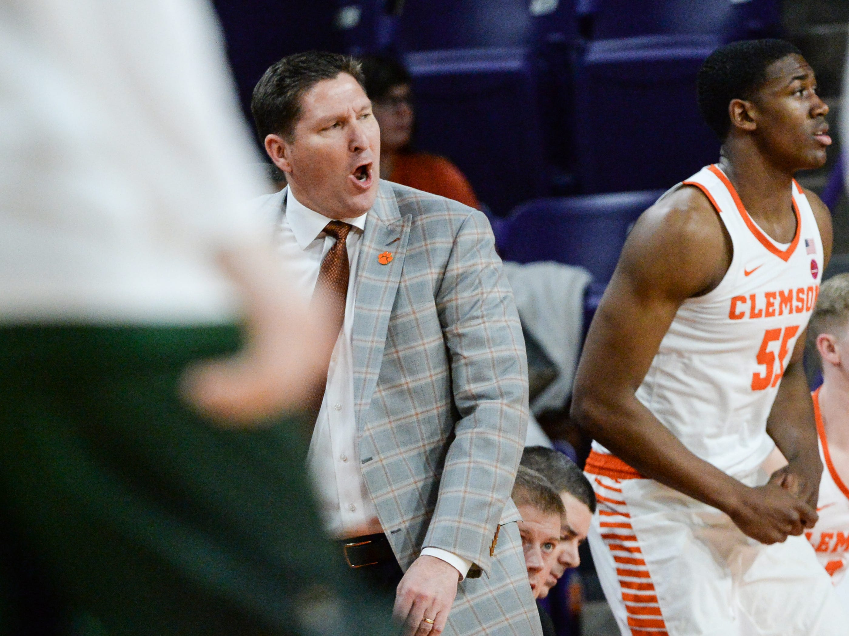 Clemson head coach Brad Brownell communicates with his players at the Wright State game during the first half of the NIT at Littlejohn Coliseum in Clemson Tuesday, March 19, 2019.