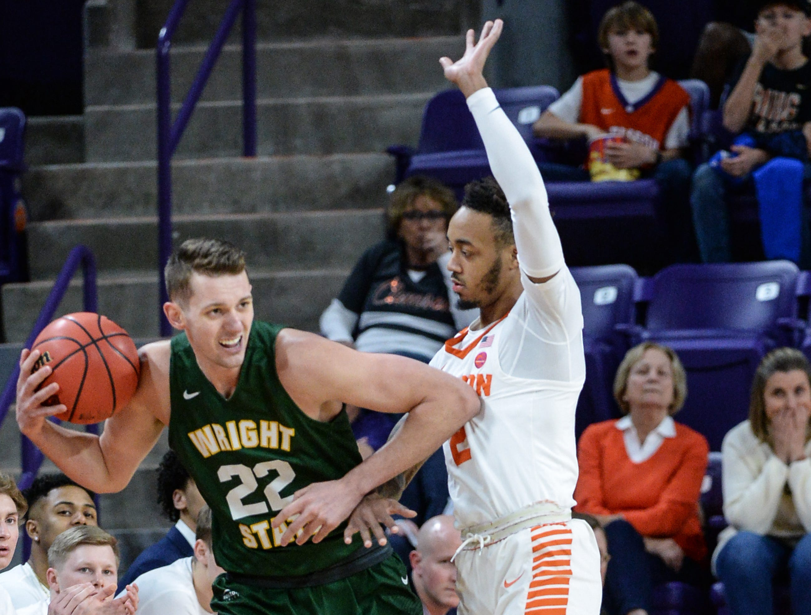 Clemson guard Marcquise Reed (2) guards Wright State center Parker Ernsthausen(22) during the first half of the NIT at Littlejohn Coliseum in Clemson Tuesday, March 19, 2019.