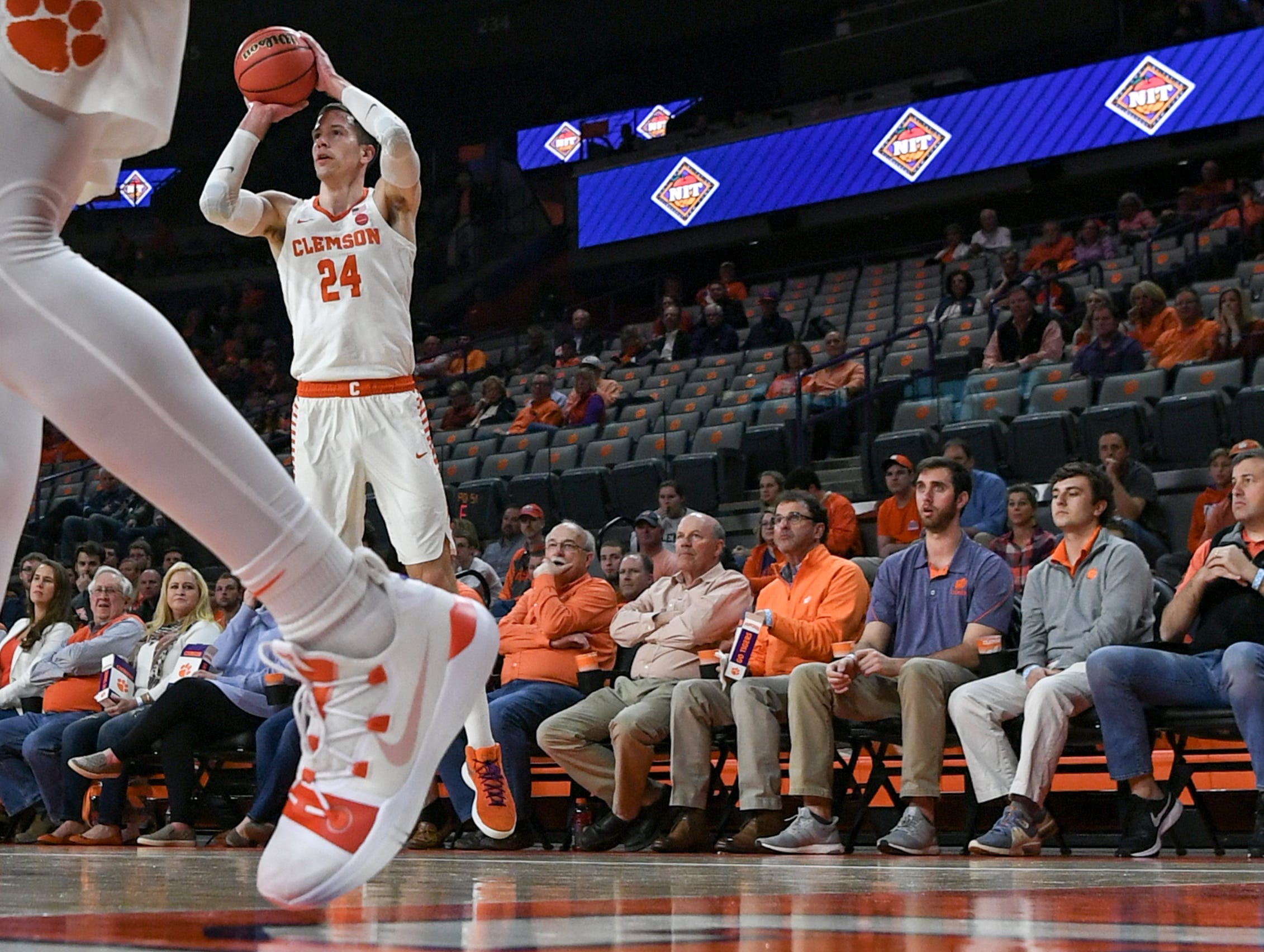 Clemson forward David Skara (24) shoots a three-pointer against Wright State during the first half of the NIT at Littlejohn Coliseum in Clemson Tuesday, March 19, 2019.