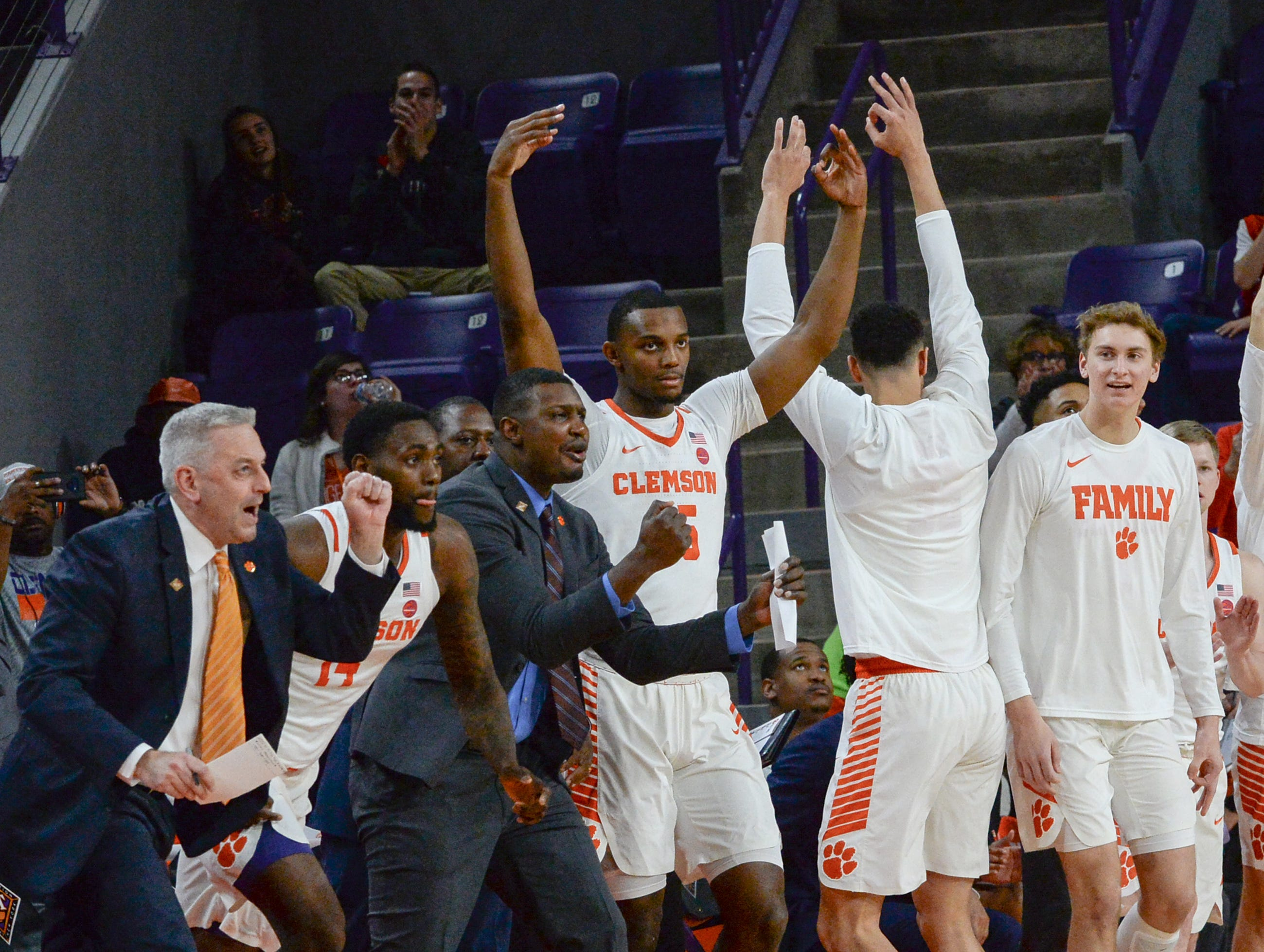 Clemson celebrates a score against Wright State during the first half of the NIT at Littlejohn Coliseum in Clemson Tuesday, March 19, 2019.
