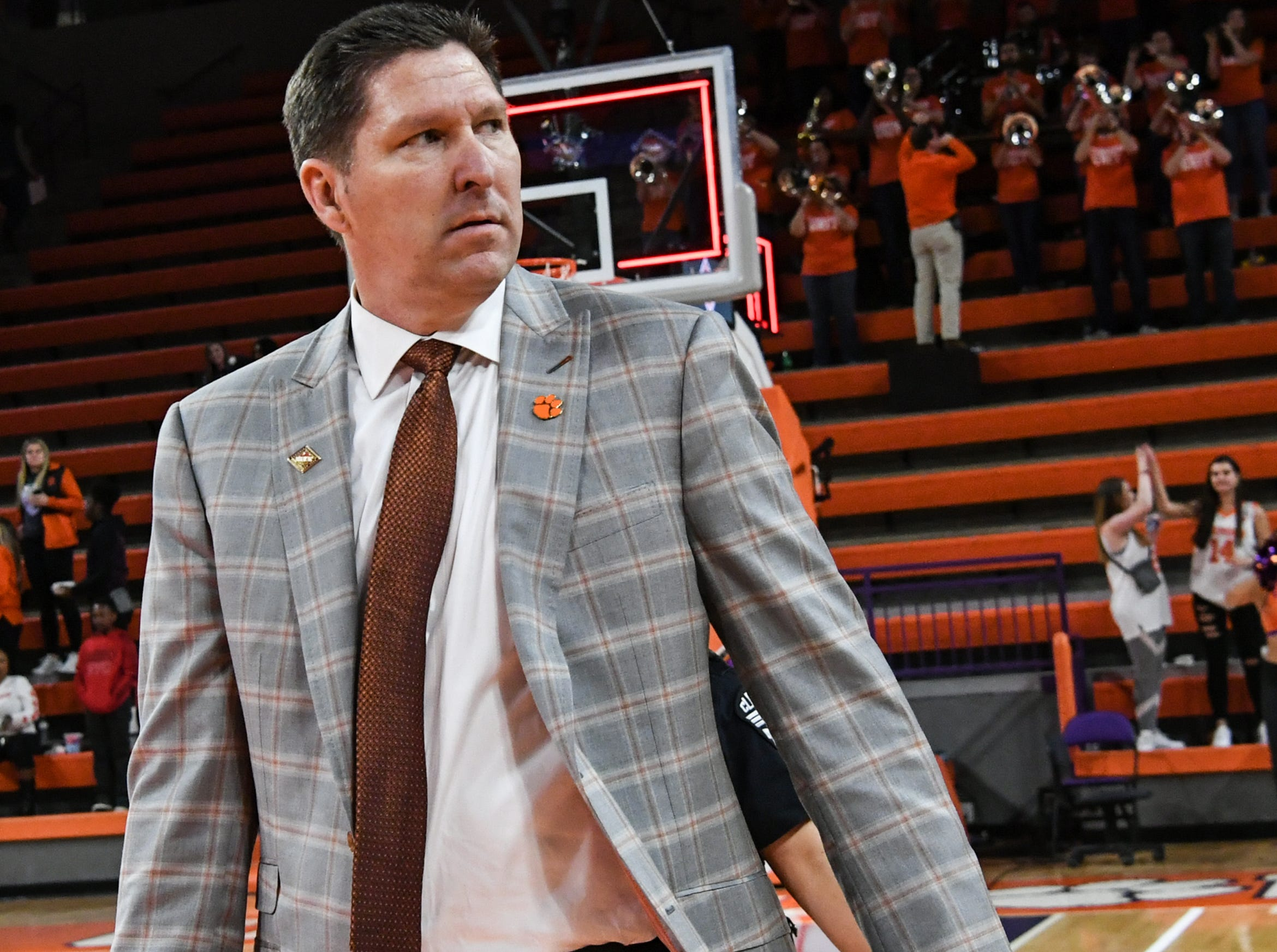 Clemson head coach Brad Brownell  after a 75-69 win in the NIT at Littlejohn Coliseum in Clemson Tuesday, March 19, 2019.