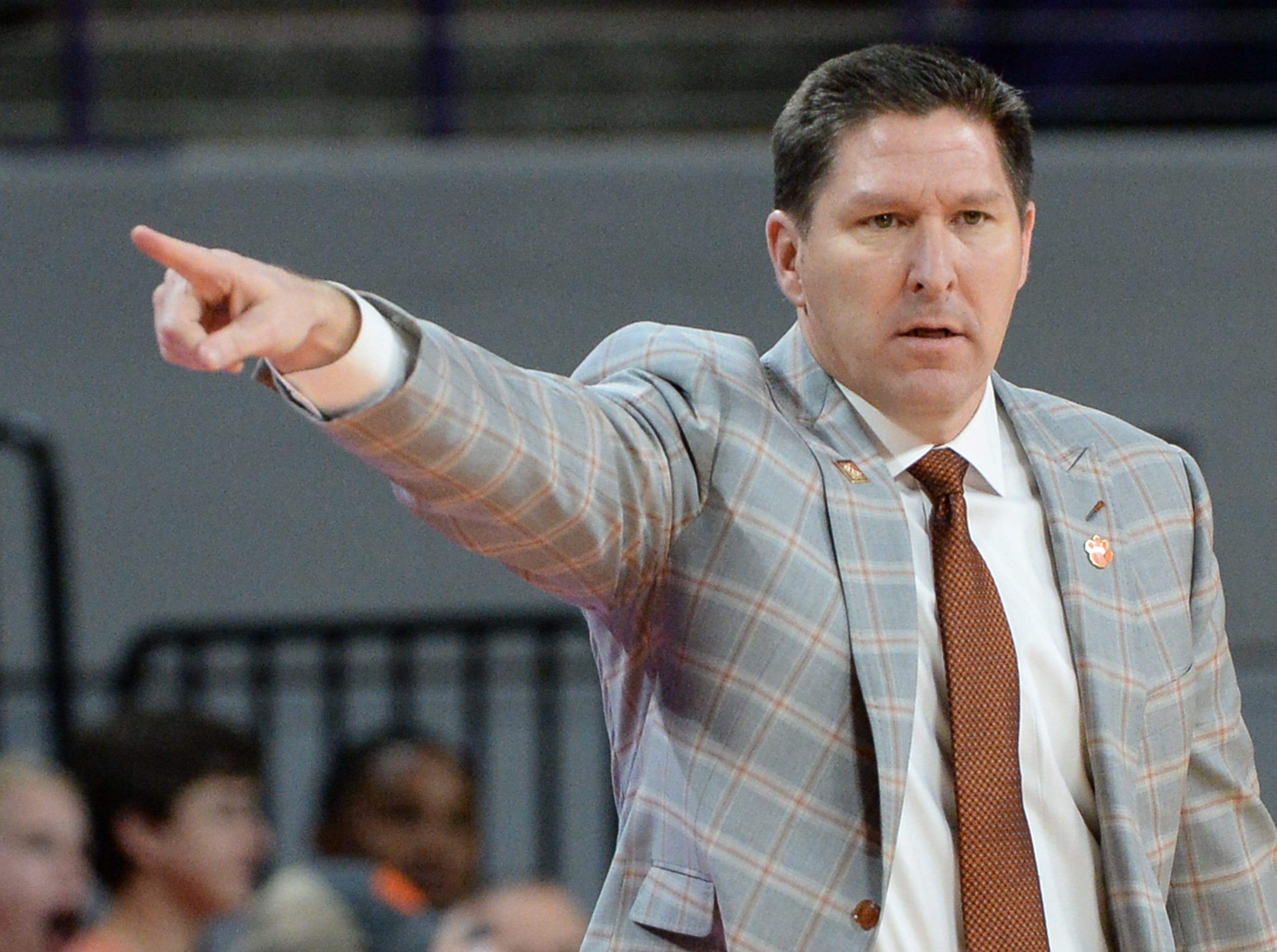 Clemson head coach Brad Brownell communicates with players at the game with Wright State during the first half of the NIT at Littlejohn Coliseum in Clemson Tuesday, March 19, 2019.
