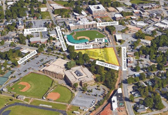An aerial of the site of the proposed .408 Jackson luxury apartment complex across from Fluor Field.