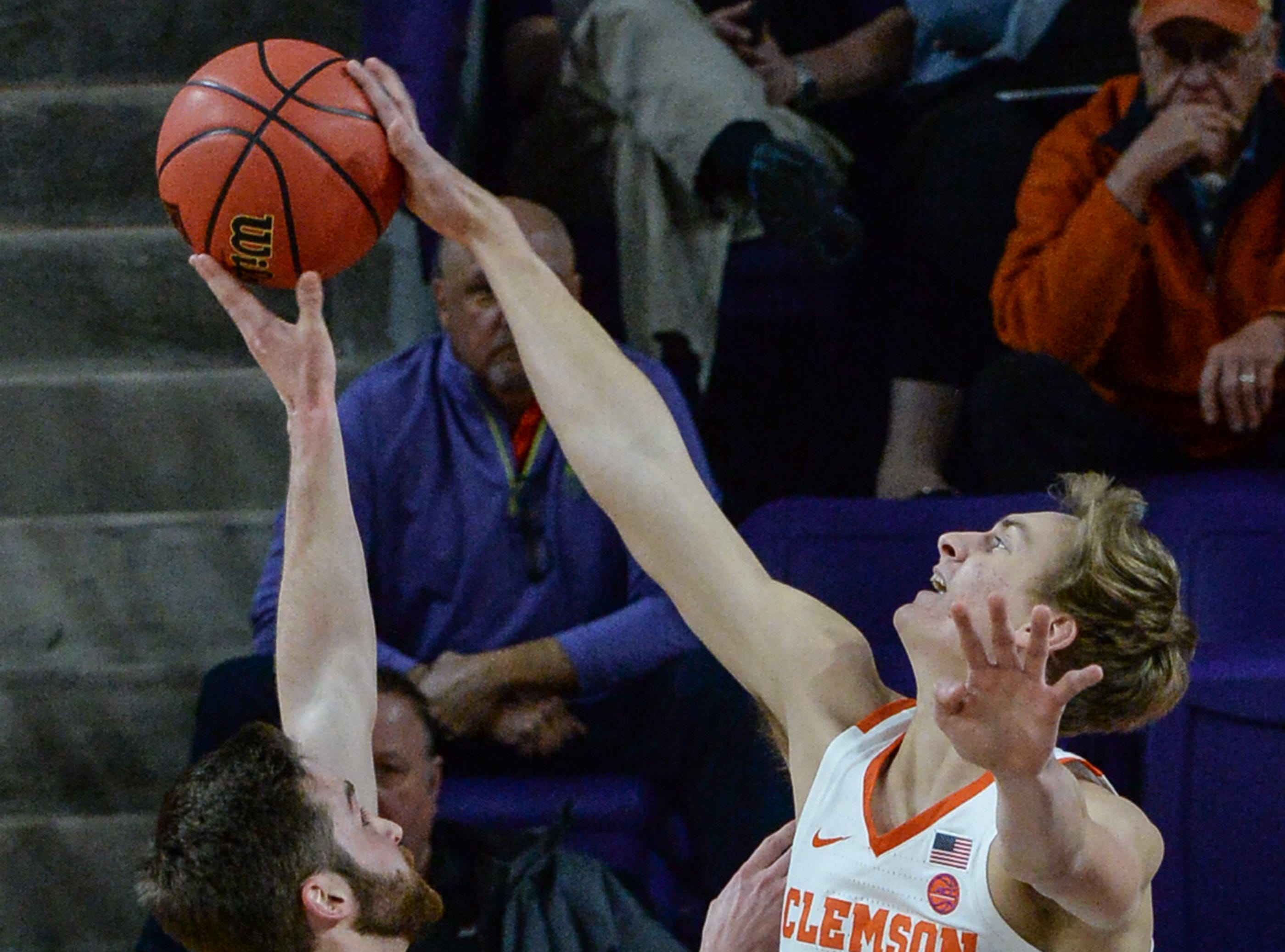 Clemson forward Hunter Tyson(5) blocks the shot of Wright State guard Alan Vest(4) during the first half of the NIT at Littlejohn Coliseum in Clemson Tuesday, March 19, 2019.