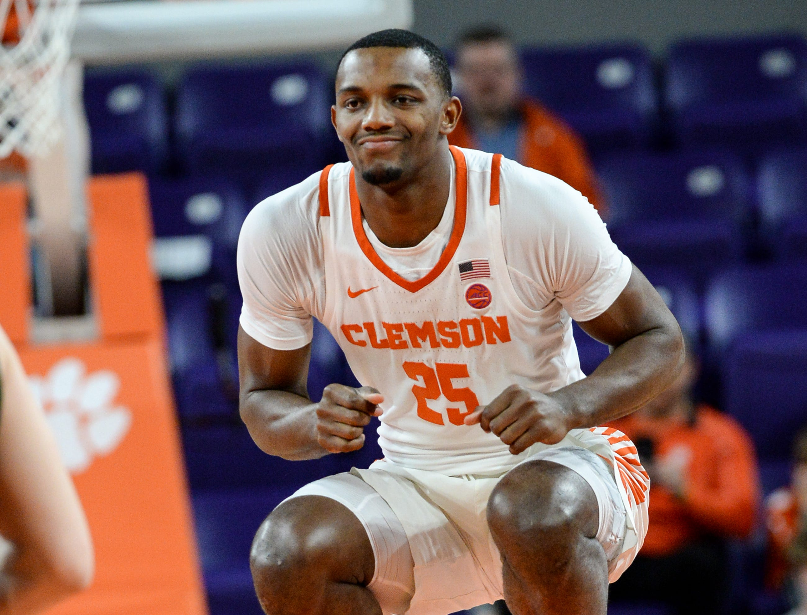 Clemson forward Aamir Simms (25) jumps before tipoff with Wright State before the NIT at Littlejohn Coliseum in Clemson Tuesday, March 19, 2019.