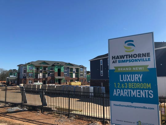 Construction on the Hawthorne at Simpsonville apartments off West Georgia Road in Simpsonville continues on Wednesday March 6, 2019.