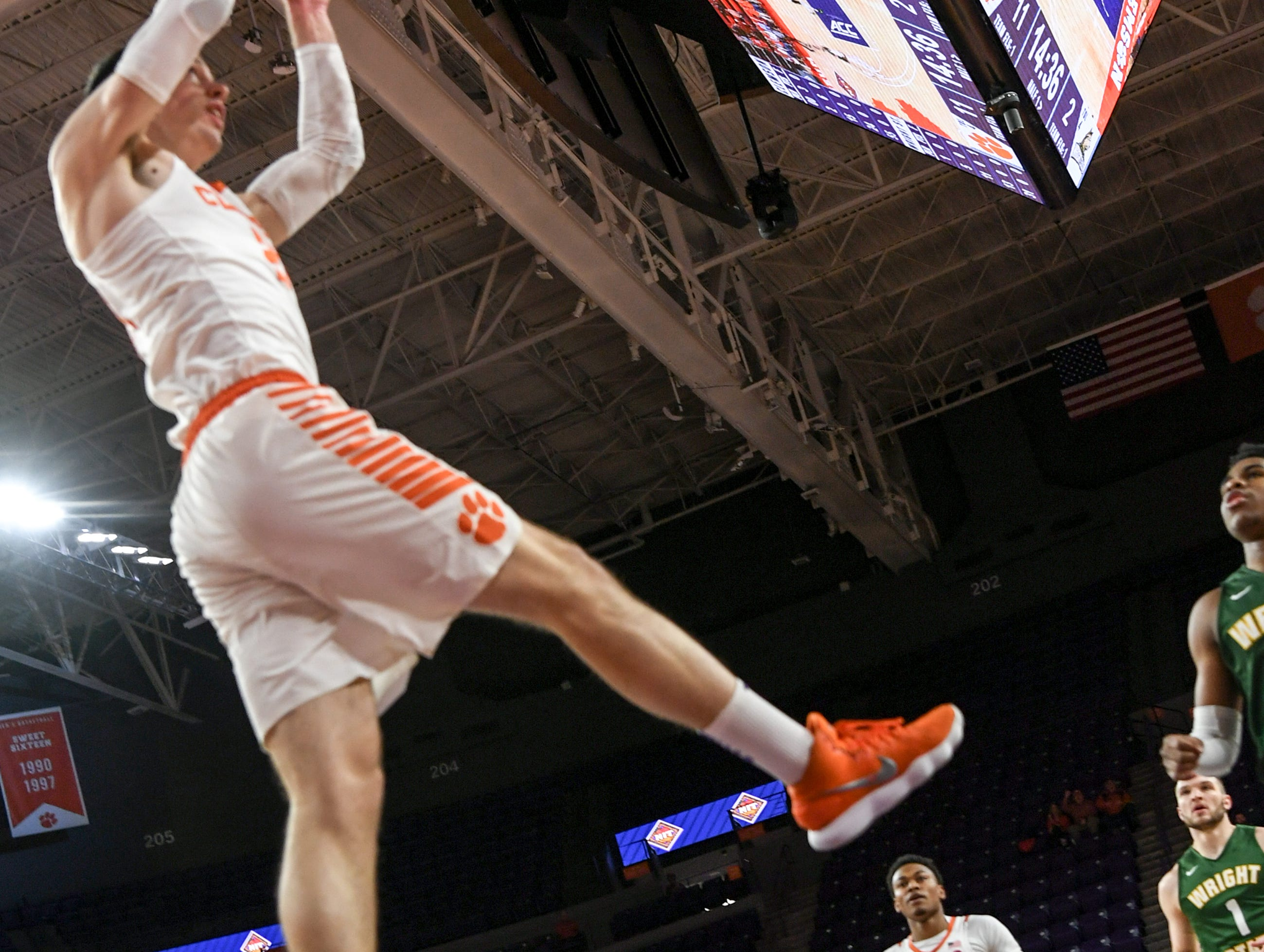 Clemson forward David Skara (24) dunks during the first half of the NIT at Littlejohn Coliseum in Clemson Tuesday, March 19, 2019.