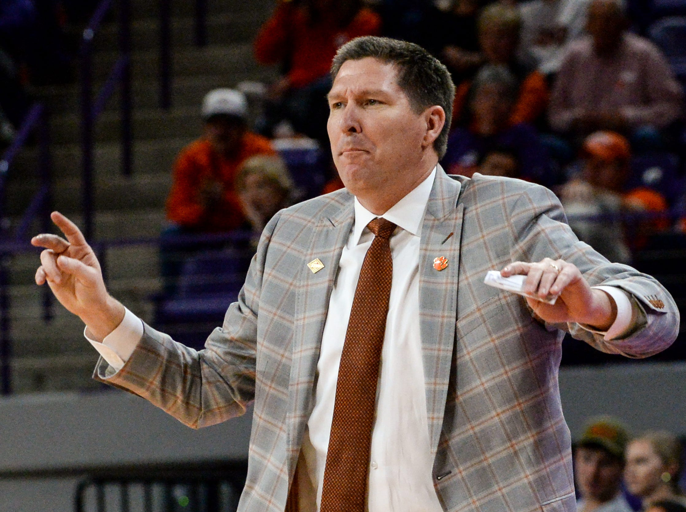Clemson head coach Brad Brownell during the second half of the NIT at Littlejohn Coliseum in Clemson Tuesday, March 19, 2019.