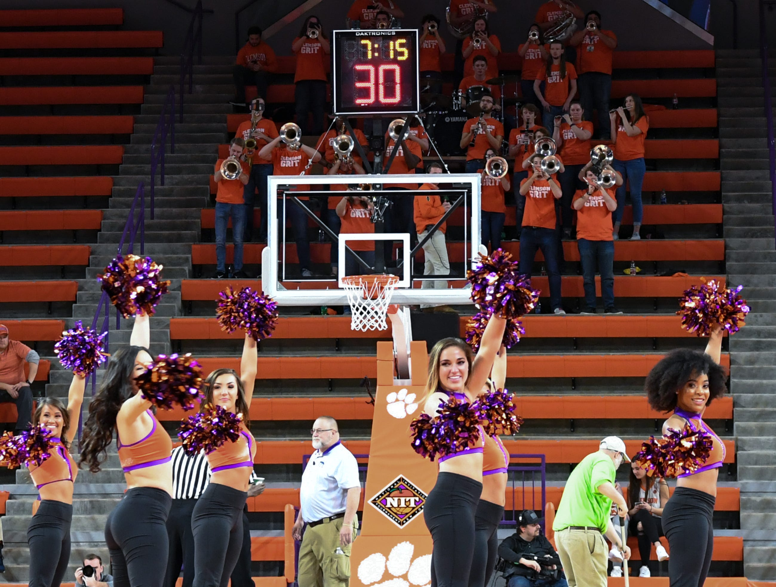 Clemson Rally Cats cheer at a break during the second half of the NIT at Littlejohn Coliseum in Clemson Tuesday, March 19, 2019.