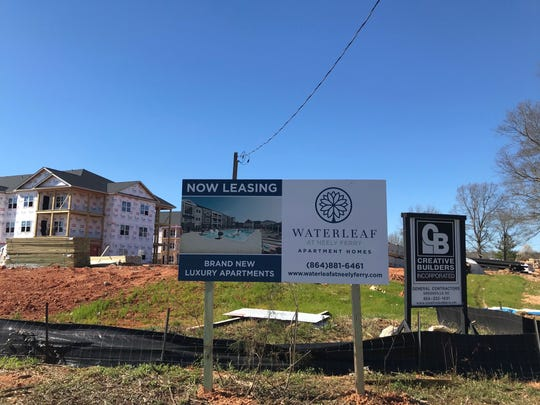 Construction continues on the Waterleaf at Neely Ferry apartments off West Georgia Road in Simpsonville on March 6, 2019.
