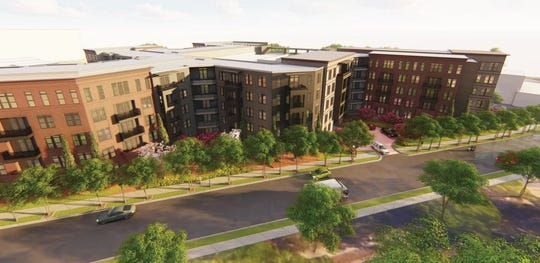 An artists rendering of the proposed .408 Jackson luxury apartment complex that would move the Shoeless Joe Jackson Museum.