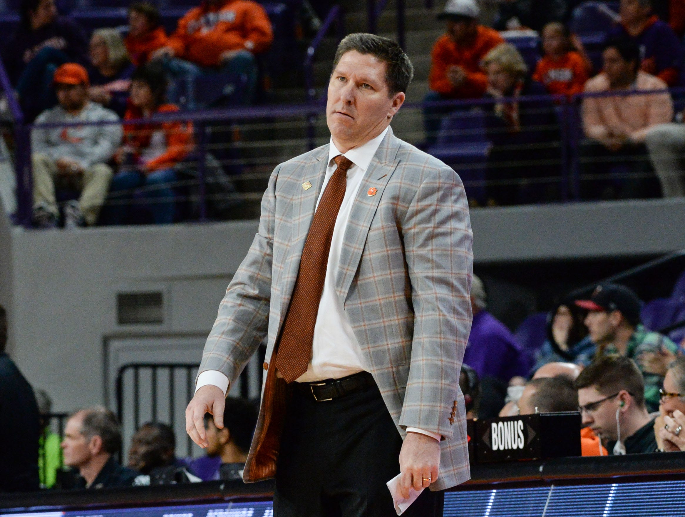 Clemson head coach Brad Brownell reacts during the second half of the NIT against Wright State at Littlejohn Coliseum in Clemson Tuesday, March 19, 2019.