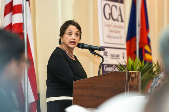 Gov. Lou Leon Guerrero addresses members and guests of the Guam Contractors Association during their membership luncheon at the Hyatt Regency Guam in Tumon on Wednesday, March 20, 2019.