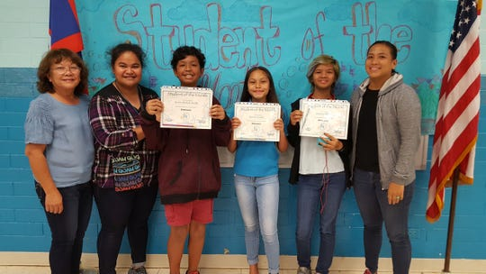 The Guahan Academy Charter School honored its February Student of the Month awardees on March 15. Pictured from left: Teresita Cruz, Jamie Lemalisei; Shawn Estella; Ke'anee Sanchez ; Jayzelyn Molinos and Melanie Manglona.