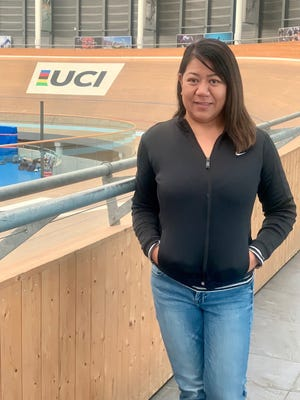 Monessa Horton at the indoor velodrome at the World Cycling Centre in Aigle, Switzerland. Horton, secretary general of the Guam Cycling Federation, completed a Level 2 coaching and Level 1 mechanic certification.