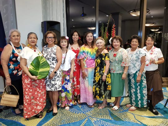 """The International Women's Club of Guam celebrated Mes CHamoru Month , March 14 at the Outrigger Hotel. The Chamorro IWC ladies showcased the island's indigenous culture and heritage and dancing with the Guma' Råsan Åcho' Latte dance group, under its instructor, Brian Terlaje. Featured members from left: Marie Dela Rosa, Dorothy Borlas, Jenny Cruz, Josephine Mesa, Flo Martinez, Lou San Nicolas, Annie Duenas (chairwoman), Lina McDonald, Lou Lujan and Aurelia """"Ore"""" Castro David. Biba Mes CHamoru!"""