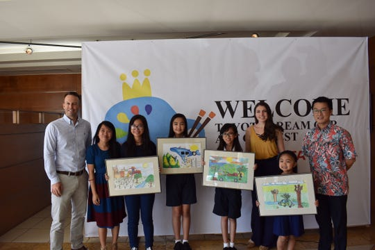 Congratulations to Saint Anthony Catholic School winners of this year's Toyota Dream Car contest held March 9, at Atkins Kroll. Pictured from left: Alex Hammett (AK president), Chelsea Cruz (art teacher), category ages 12 to 15: Xianna Macatangay (3rd place winner), category ages 8 to 11: Tiffani Pangelinan (2nd place winner) and Camillah Mariano (1st place winner) Katlyn Sutherland (art teacher), category 8 and under: Teia Tan (2nd place winner) and Vice Consul Kazuki Hasegawa (Consulate-Genral of Japan). Student's art pieces were judged on their messages clarity, uniqueness and artistic quality.