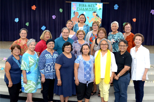 """Academy of Our Lady of Guam Class of 1969 Golden Jubilarians and 1969 FD Alumni were invited to the AOLG History and Culture of Guam Class, """"Mes Chamorro"""" activity by Fanai Castro, teacher and special guest, Flora Baza Quan on March 1 at the school's Ysrael Auditorium of Fine Arts. Pictured in front from left: Barbara L. Camacho,    Mary Lou G. Pereda, Elizabeth M. Claros, Josephine P. Cathay, Magdalena Atoigue, Rose E. Cahill, Selina C. Castro, Lourdes P. Duenas; Second row from left: Sister Orlean Pereda, RSM, Bennett Lujan Duenas, Zennon Belanger, Bertha Sablan Duenas, Arlene P. Bordallo; Third Row L-R: Mary Len D. Artero, Flora Baza Quan, Rosalind P. Borja, Sophia T. Santos, and Principal Mary T. Meeks."""