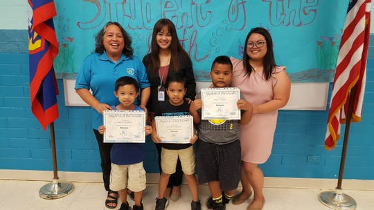 Guahan Academy Charter School February Student of the Month awardees on March 15. Front row from left: Caden Ando; Zion'Jay Villanueva and Albert Yeligmai. Back row from left: Mary Mafnas, Jaamie Indalecio and Jovina Munoz.