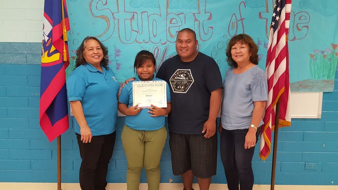 The Guahan Academy Charter School honored its February Student of the Month awardee on March 15. Pictured from left; Mary Mafnas, Dean of Elementary School Guahan Academy Charter School; Curaysha-Lynn and Shalom Smith and Teresita Cruz, Dean of High School Guahan Academy Charter School.