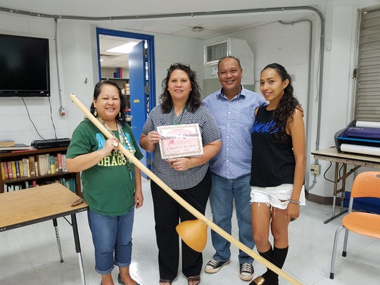 In conjunction with Sakkan (Mes) CHamoru the students at M.U. Lujan Elementary school participated in the Bilembåotuyan event from March 11-15, with Siñora Delores T. Quinata. Pictured from left: Siñora LeVonne S Mantanona; Siñora Delores T. Quinata; Siñot Albert C Fejeran and Sinorita Eva Cruz.