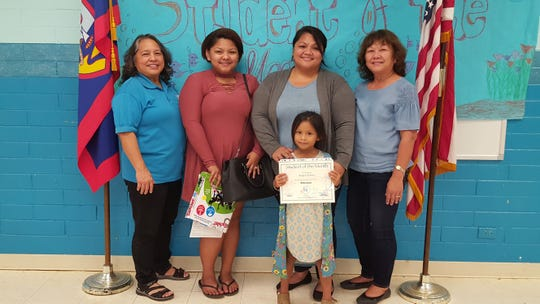 The Guahan Academy Charter School honored its February Student of the Month awardees on March 15. Pictured front row: Kaycie Barnes. Back row from left: Mary Mafnas, Dean of Elementary School Guahan Academy Charter School; Kayla Barnes; Marcia Barnes and Teresita Cruz, Dean of High School Guahan Academy Charter School.