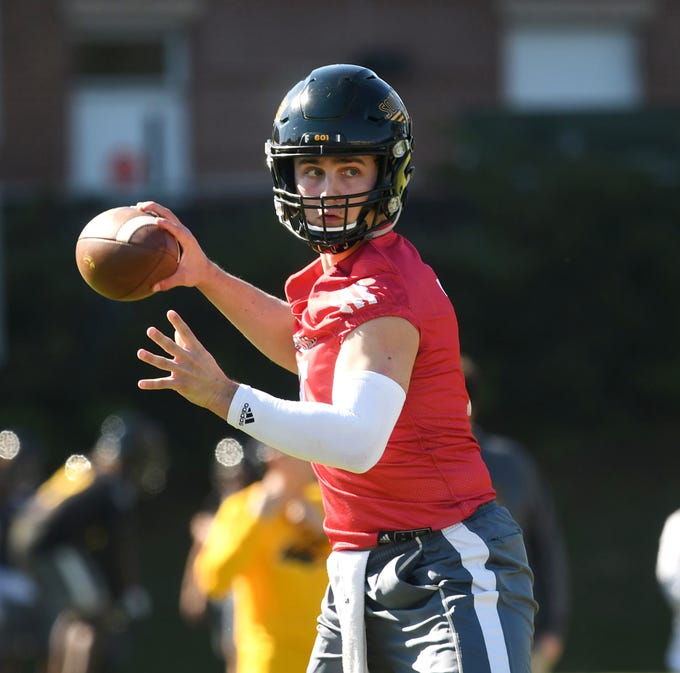 Southern Miss quarterback Jack Abraham throws the ball during the first day of spring practice in Hattiesburg on Tuesday, March 19, 2019.