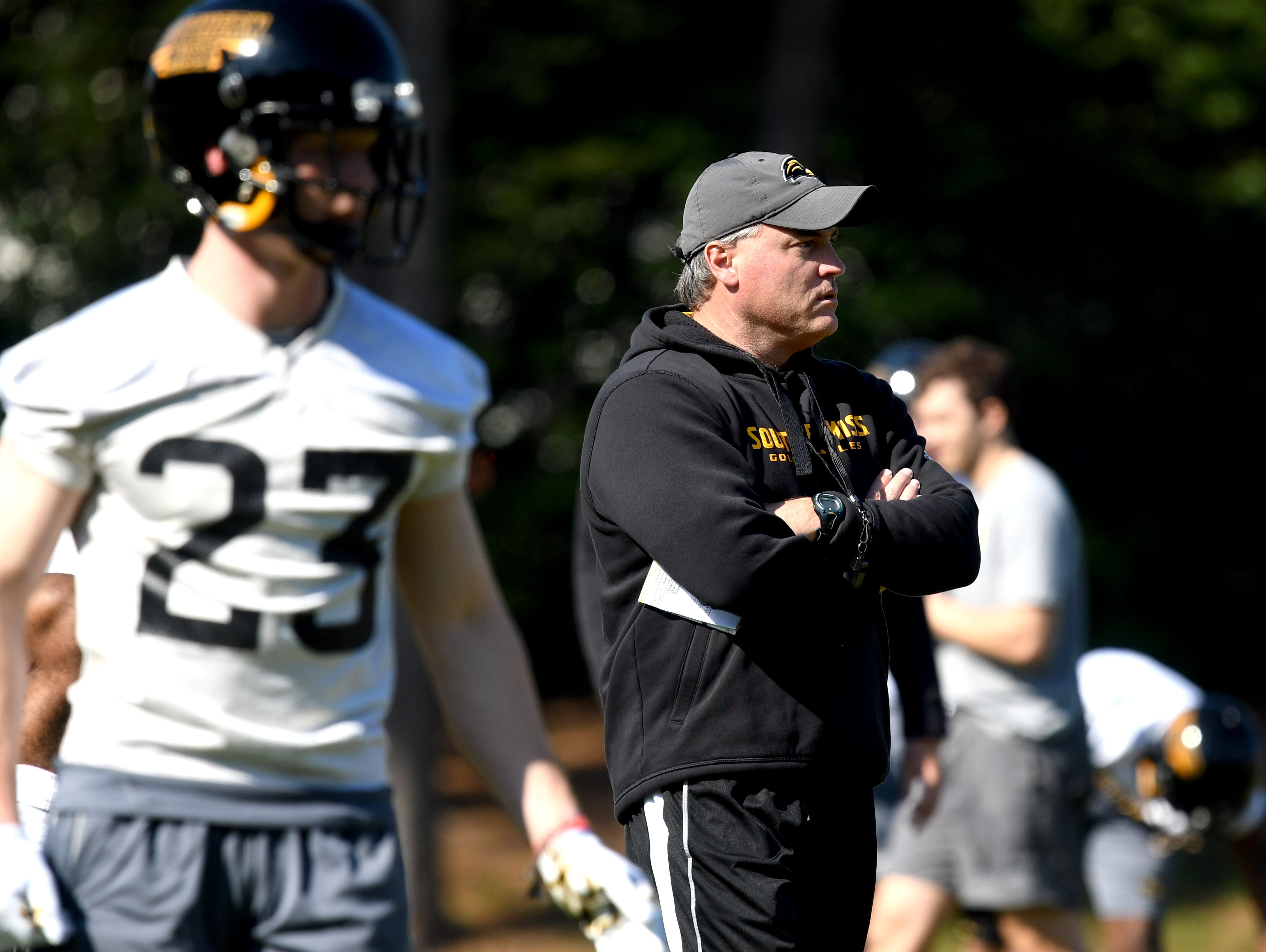 Southern Miss head coach Jay Hopson watches his players during the first day of spring practice in Hattiesburg on Tuesday, March 19, 2019.
