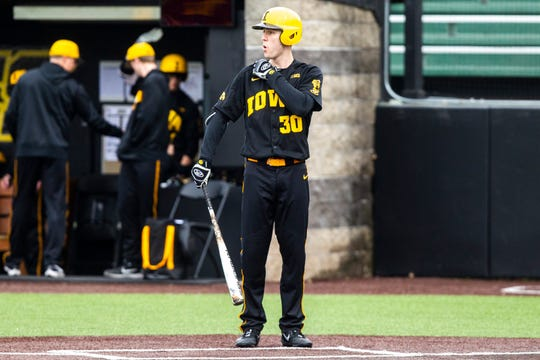 Connor McCaffery struck out in his first official Iowa at-bat Saturday, but has since gone 4-for-7 with two doubles and two walks for Rick Heller's squad.